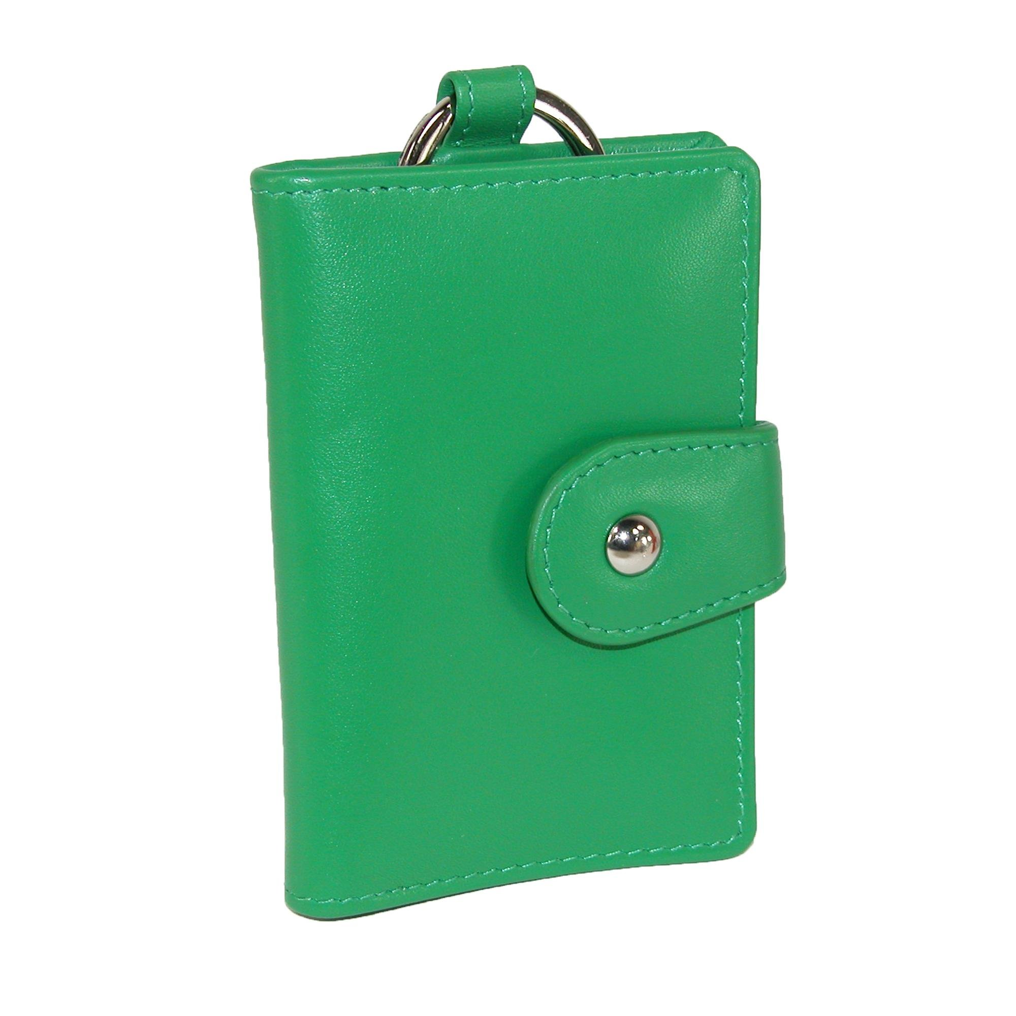 CTM Women's Leather Card and ID Holder Key Chain Fob, Emerald Green