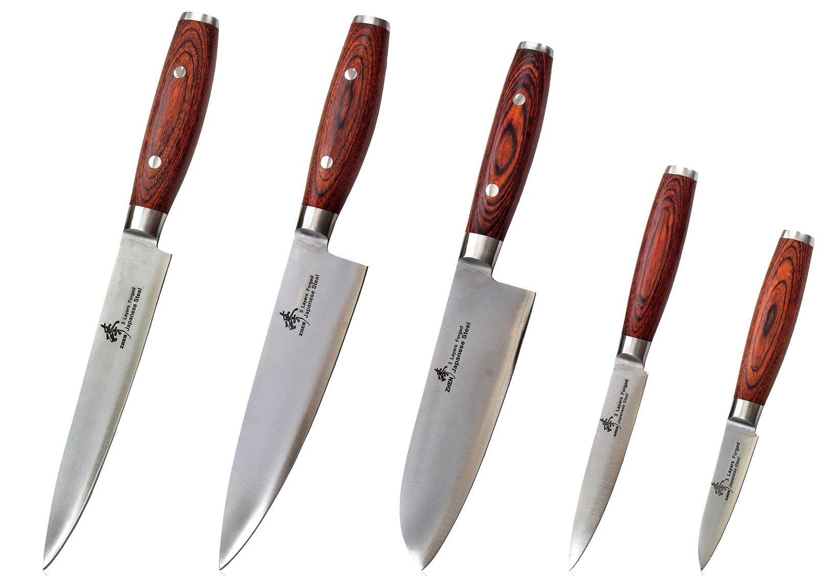 ZHEN Japanese VG-10 5-Piece 3-Layer Forged Steel Cutlery Knife Set, Pakka Wood