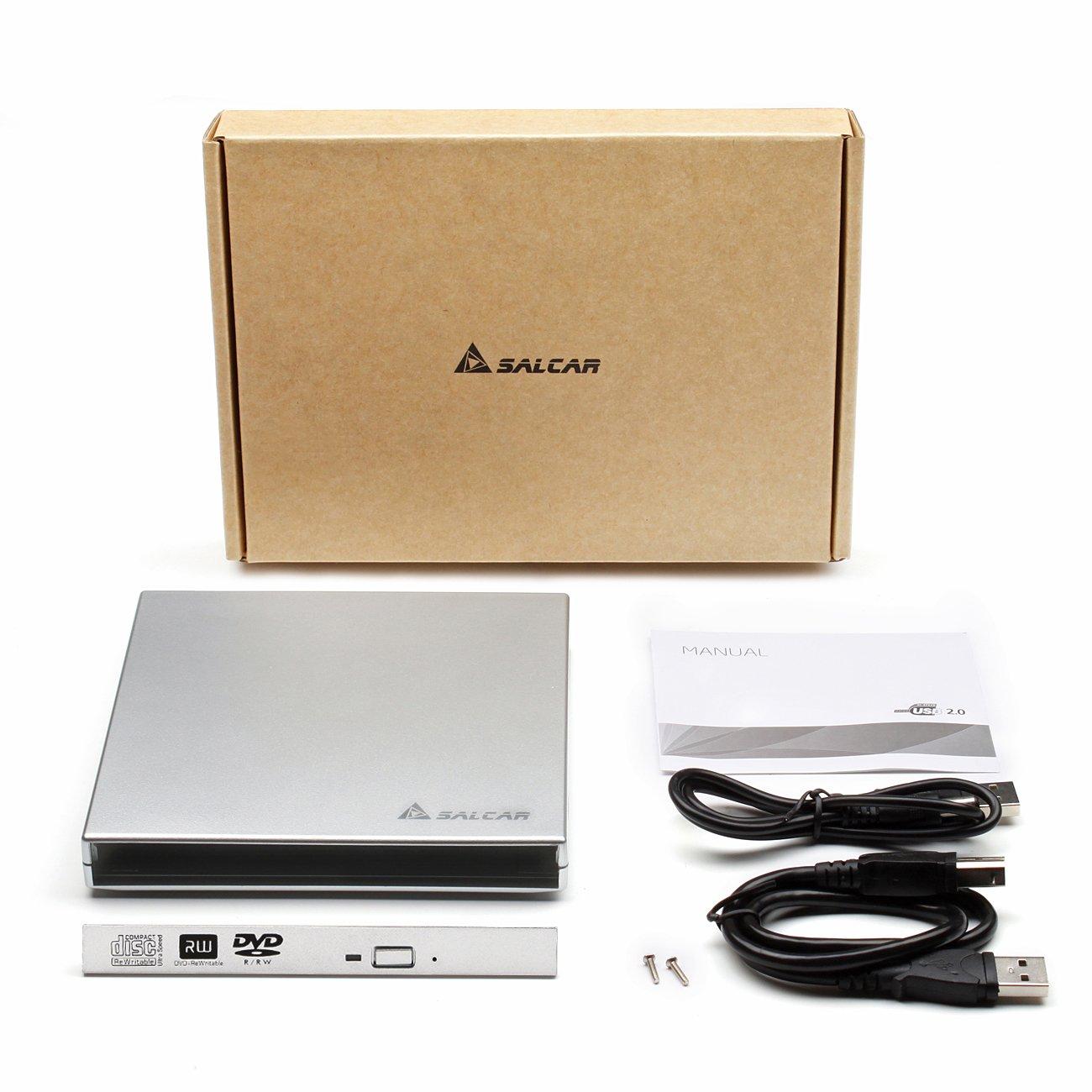 Salcar - DVD Externo Adaptador Caja Carcasa para unidades de almacenamiento portátiles SATA para unidades de reproducción de Notebook CD/DVD Drive de ...