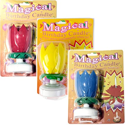 The Amazing Singing Opening Flower Happy Birthday Candle 3 Pack Red Yellow And Blue Amazonca Home Kitchen