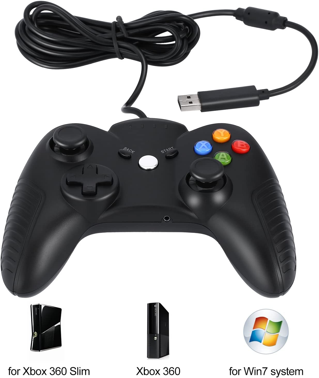 YKS Mando Xbox 360 con Cable USB Controlador Gaming para Microsoft Xbox 360 PC Windows 7, Joystick Plug and Play: Amazon.es: Videojuegos