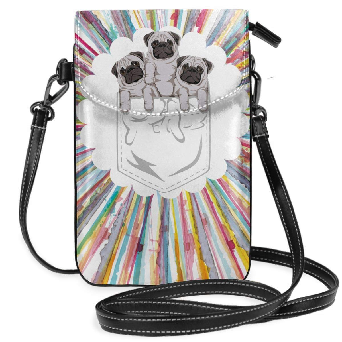 Small Cell Phone Purse Animal Pocket Pug Dog Crossbody Bags with Shoulder Strap Coin Purse Wallet for Women,Girls
