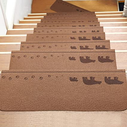 Kangkang@ 13Pcs Home Self Adhesive Non Slip Floor Staircase Carpets Cute  Animals Pattern