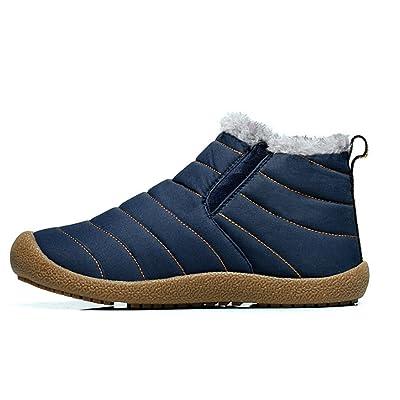 YUNEE Women Men Warm Fur Lined Anti-Slip Waterproof Ankle Snow Boots