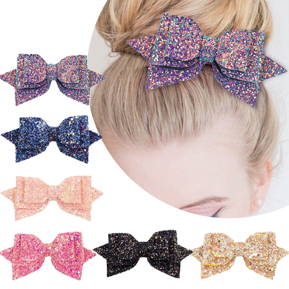 5 Inch Glitter Hair Bows Boutique Hair Clips-6pcs Multi Color Glitter Sequins Big Hair Bows For Baby Girls Teens Toddlers by Yeaplike