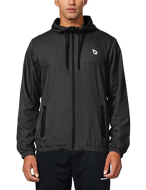 4c1315f74d86 Baleaf Men's Runing Windbreaker Lightweight Hooded Windproof Jacket Black  Size S
