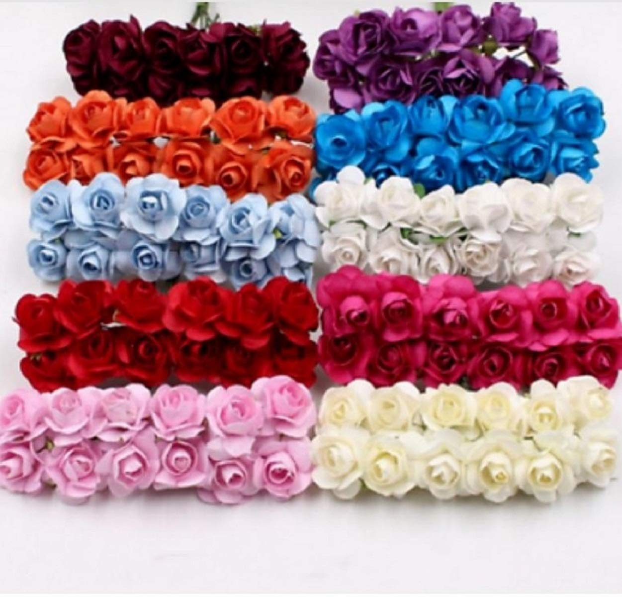 Buy Sanvatsar Artificial Rose Paper Flower For Jewellery Making Craft Material Decoration 144 Pcs Cream Online At Low Prices In India Amazon In