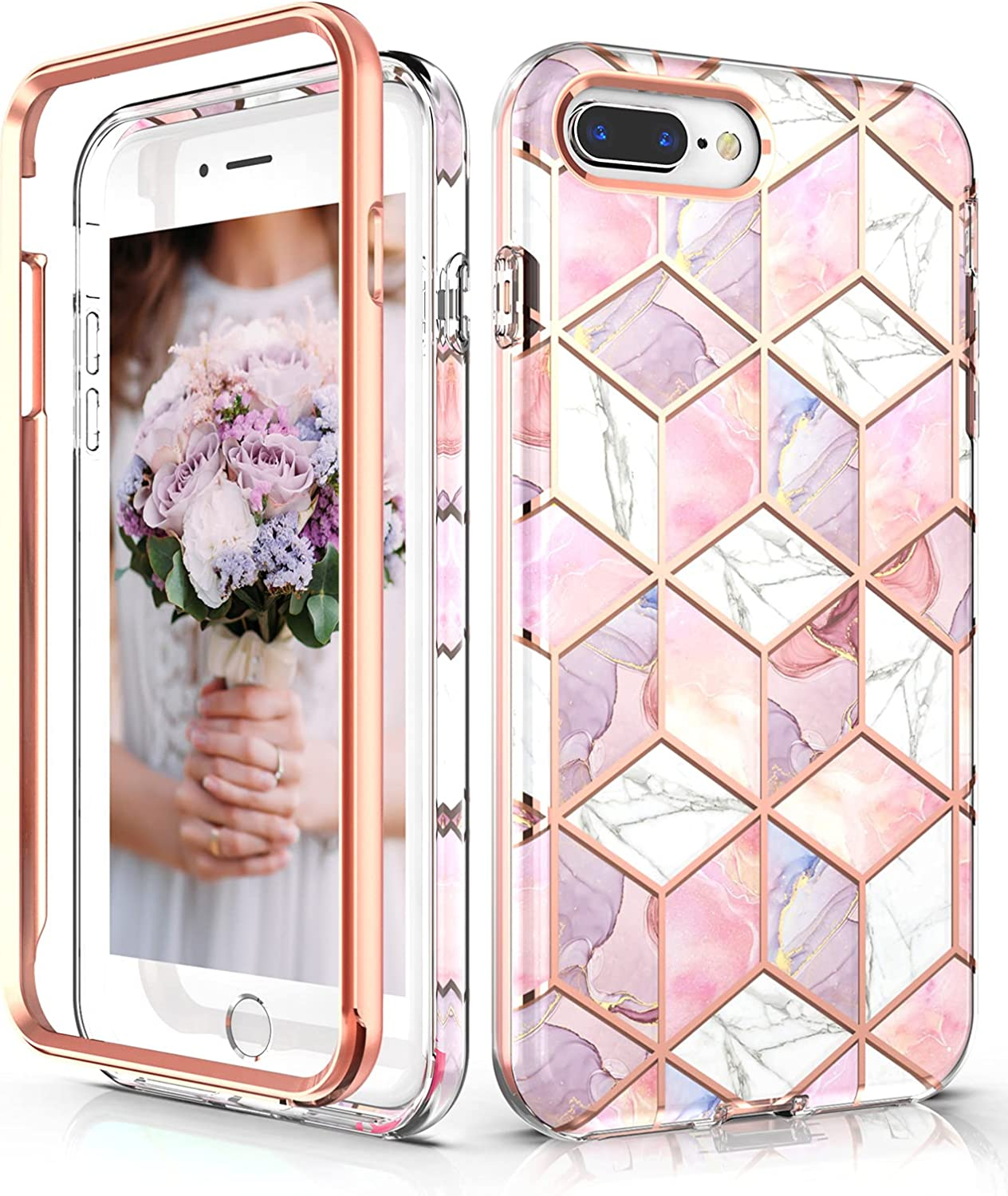 Hasaky Case for iPhone 8 Plus Case iPhone 7 Plus Case iPhone 6/6s Plus Case,Dual Layer Hybrid Bumper Cute Girls/Women Marble Design Soft TPU+Hard Back Shockproof Protective Phone Case -Pink/Rose Gold