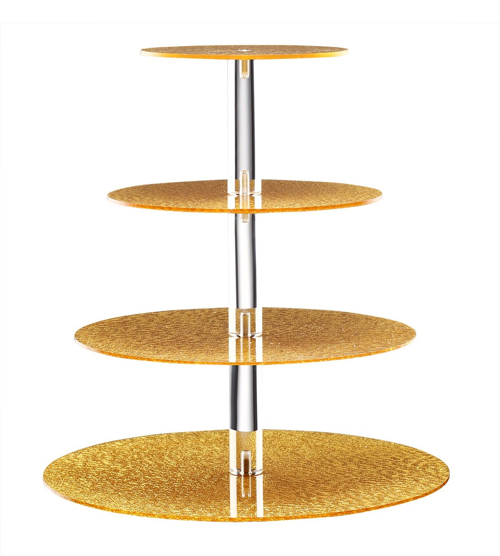 BonNoces Acrylic Cupcake Stand - 4 Tiers Round Cupcake Tower - Tiered Serving Dessert Cake Holder - Unique Golden Exquisite Patterns - Perfect for Wedding, Birthday, Party, Baby Shower and Christmas