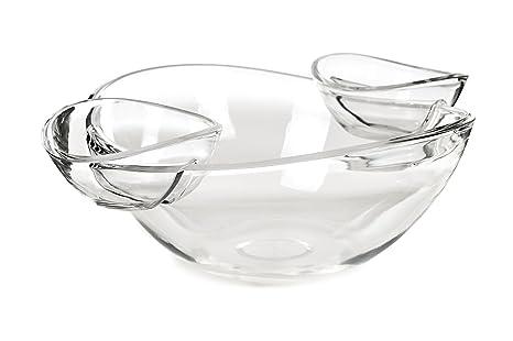 Cuencos transparentes para aperitivos (con 2cuencos para salsa–
