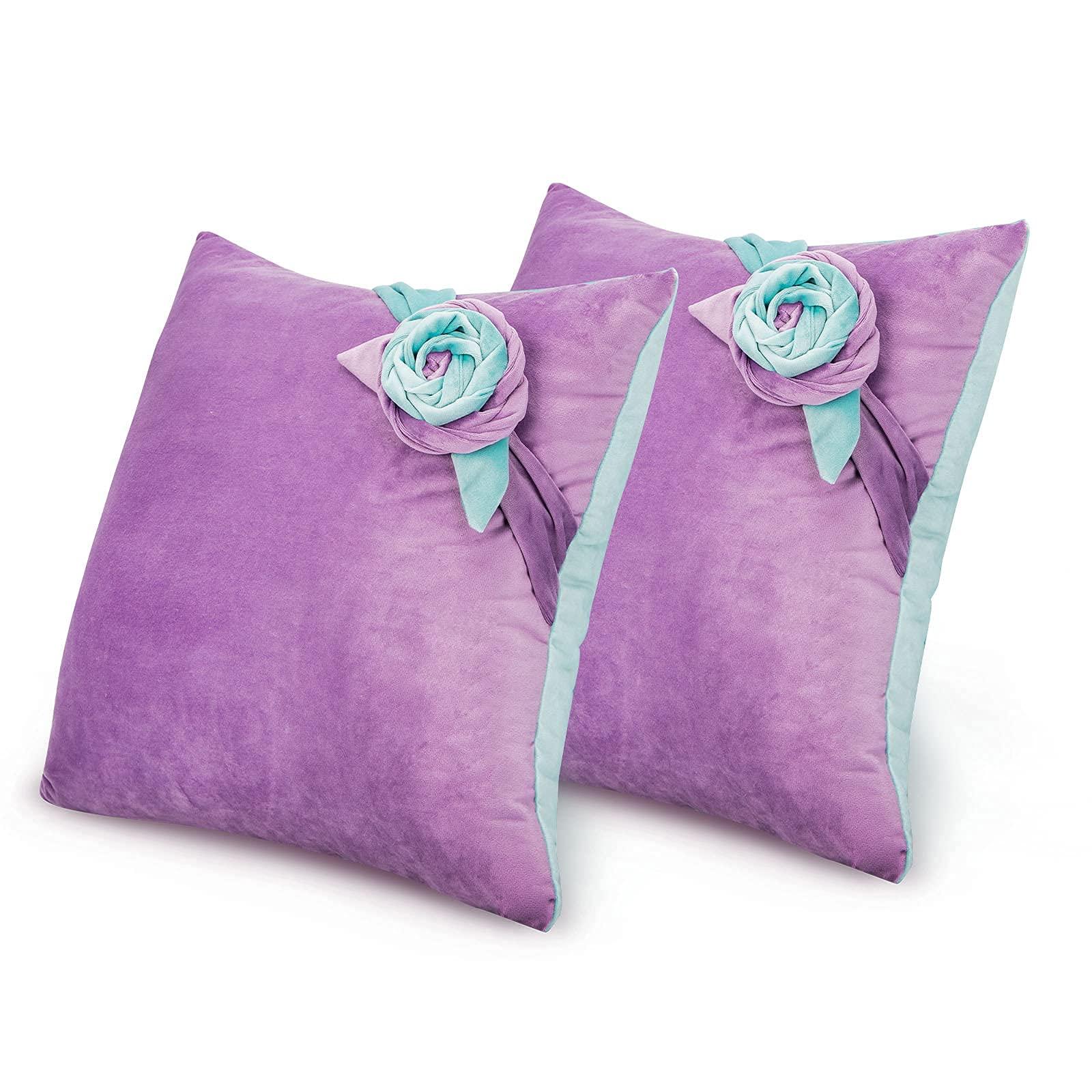 Tayis Purple Throw Pillowcase 16 x 16 Velvet Soft Decorative Square Throw