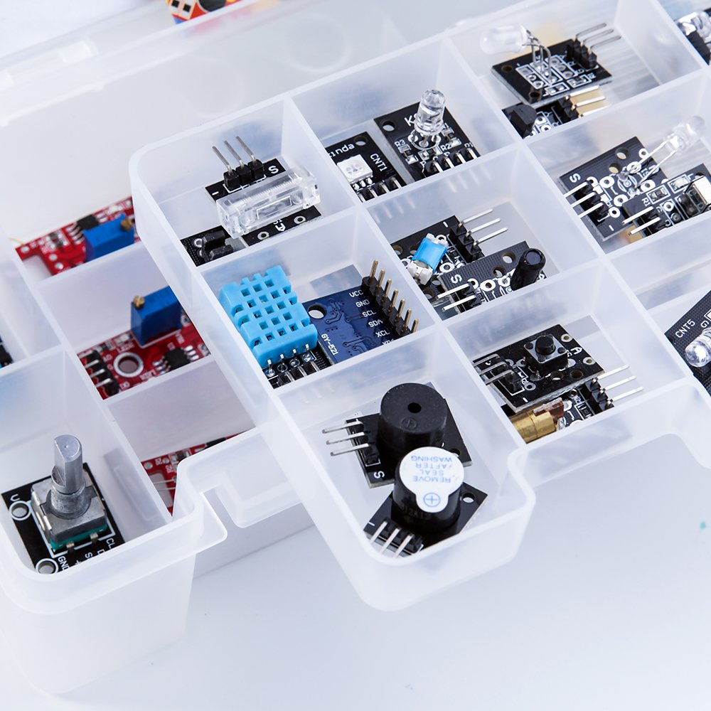 ELEGOO Upgraded 37 in 1 Sensor Modules Kit with Tutorial for Arduino UNO R3 MEGA 2560 Nano 2016 new version by ELEGOO (Image #6)