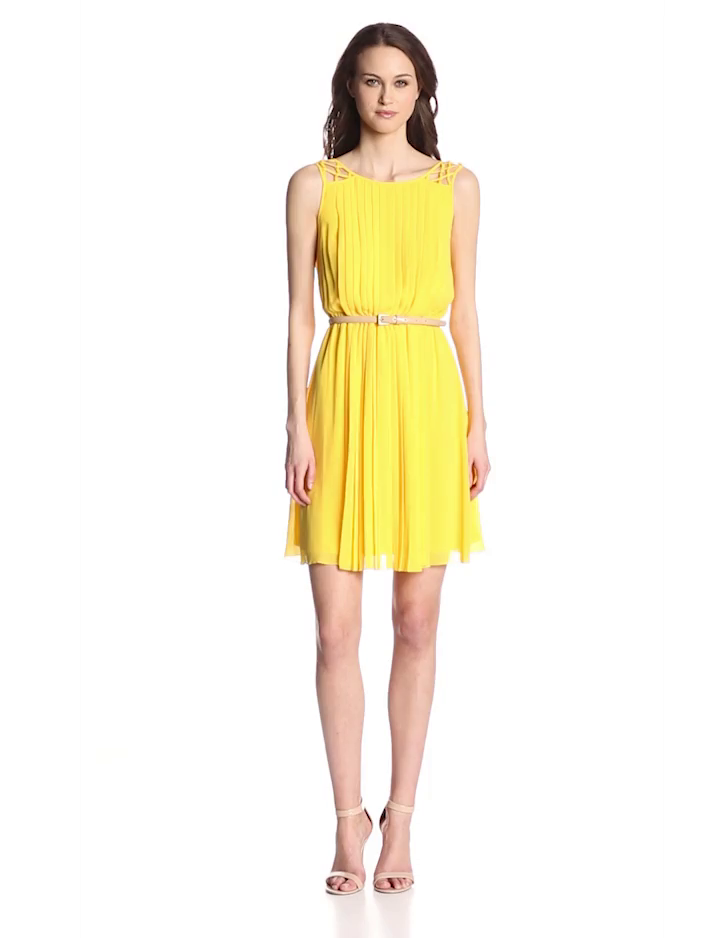 Jessica Simpson Women's Lattice Shoulder Dress, Yellow, 4
