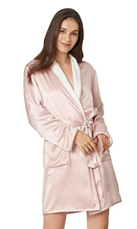 5fedae400c LilySilk Pink Silk Robe for Women Reversible Two-Sides Silk and Terry Warm  Luxury Bathrobes