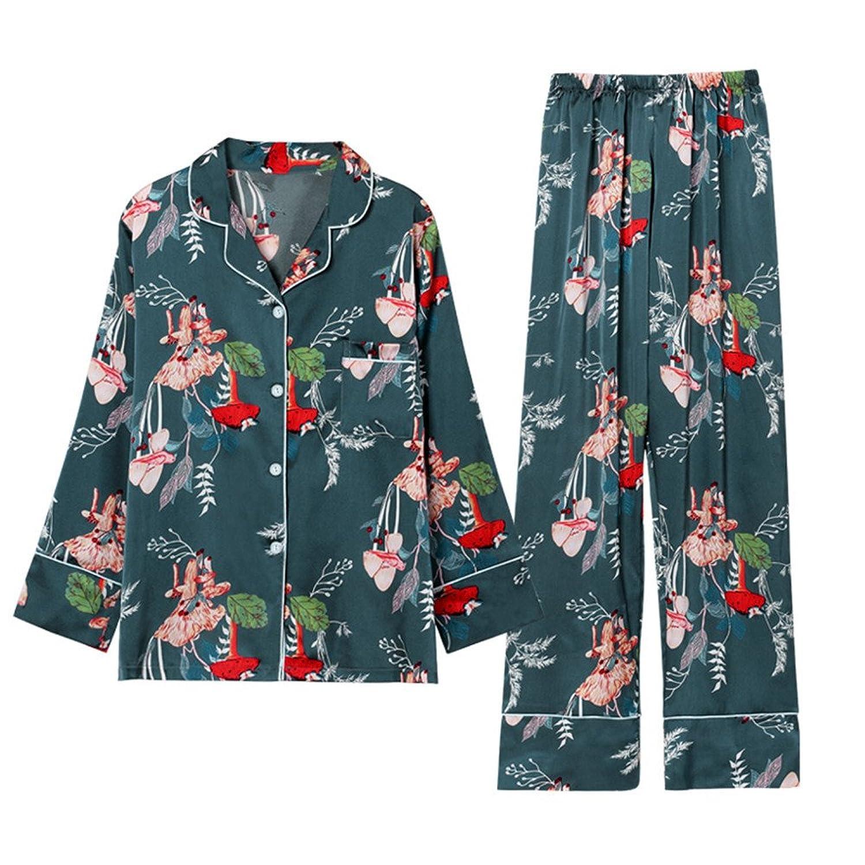 Summer Autumn 7 Pieces Set Silk Elegant Women Pajamas Print Silk Shorts Long Sleeve Top Elastic Waist Pants Silk at Amazon Womens Clothing store: