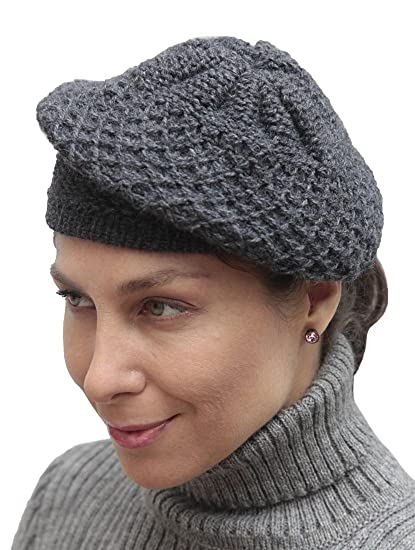Women s Alpaca Wool Knitted Beret Cap Hat (Gray) at Amazon Women s Clothing  store  778a54d17