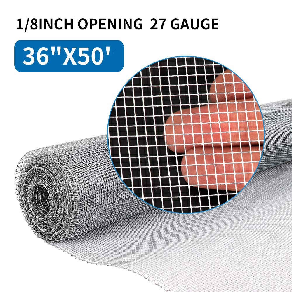 36in x 50ft 1/8 inch Hardware Cloth 27 Gauge Galvanized Steel Wire Rolled Woven Hardware Cloth For Keep Bees Wasps and Mid to Large-Sized Insects by AMAGABELI GARDEN & HOME