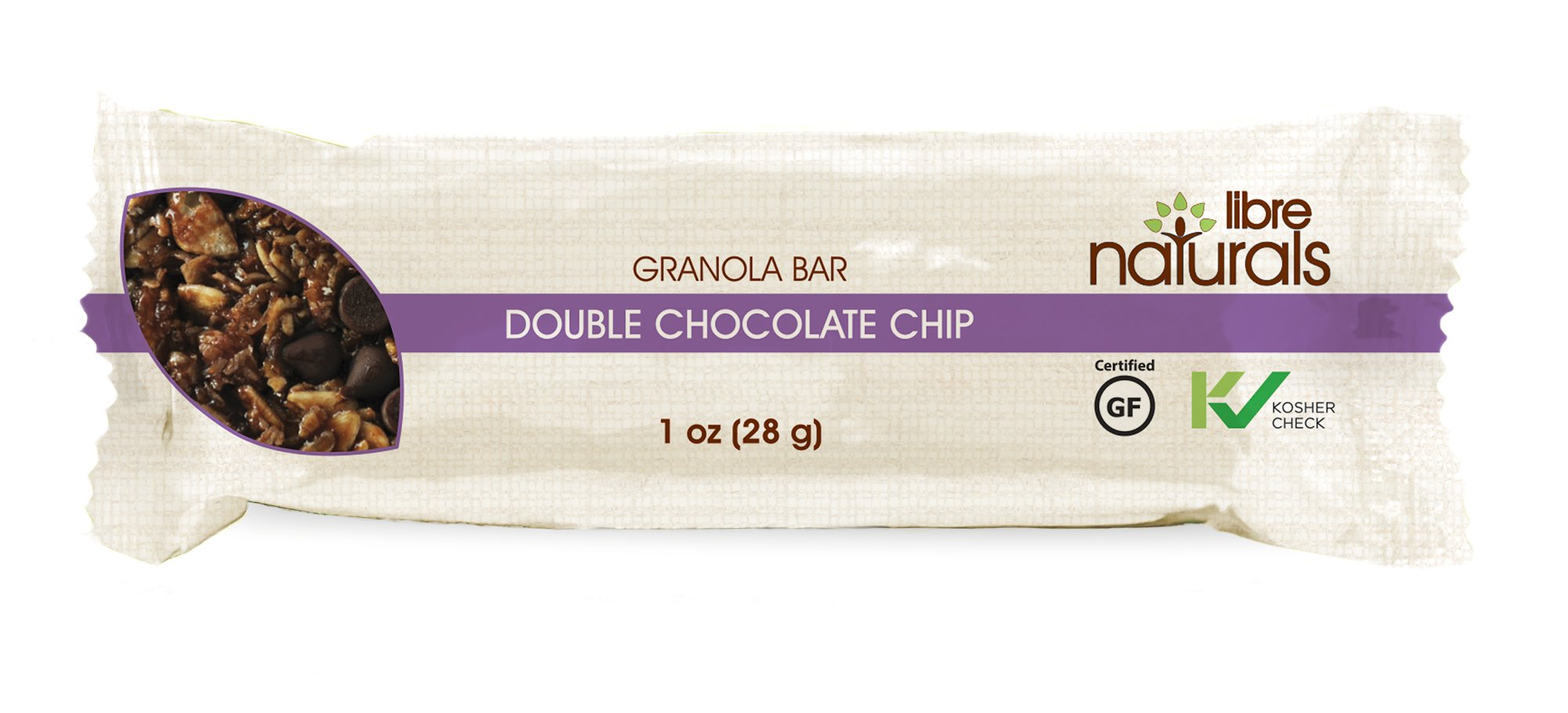 Nut Free, Gluten Free >> Double Chocolate Chip Vegan Granola Bar - Libre Naturals, 28 gram, 100 Bar Bulk Case