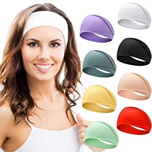 Headbands for Women, Bohemian Style Yoga Elastic Headwraps Head Wrap Hair Band 8 Pack (Style-1 (8-Pack))