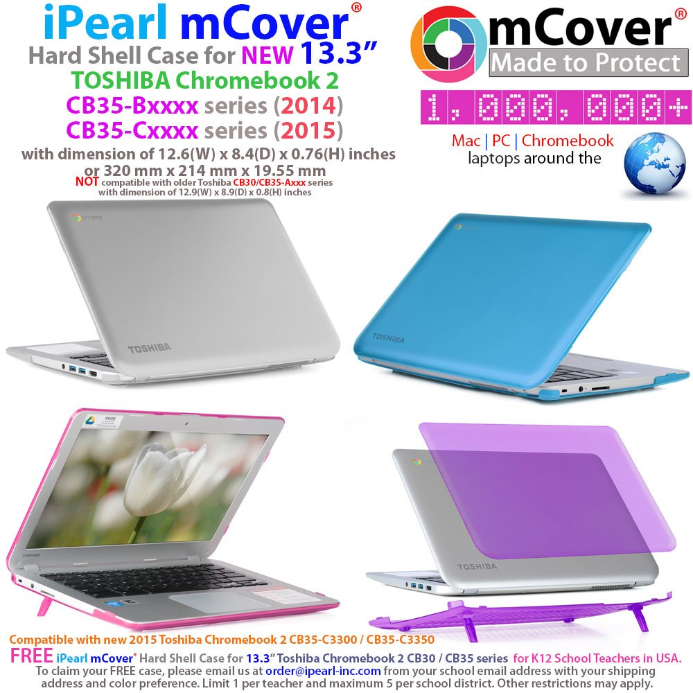 iPearl mCover Hard Shell Case for 13.3-inch Toshiba ChromeBook 2 CB30 / CB35-Bxxxx (2014) and CB30 / CB35-Cxxxx (2015) series Laptop (NOT compatible with OLDER Toshiba CB30 / CB35-Axxxx (2013) series 13.3-inch Chromebook) (Blue) by mCover (Image #2)