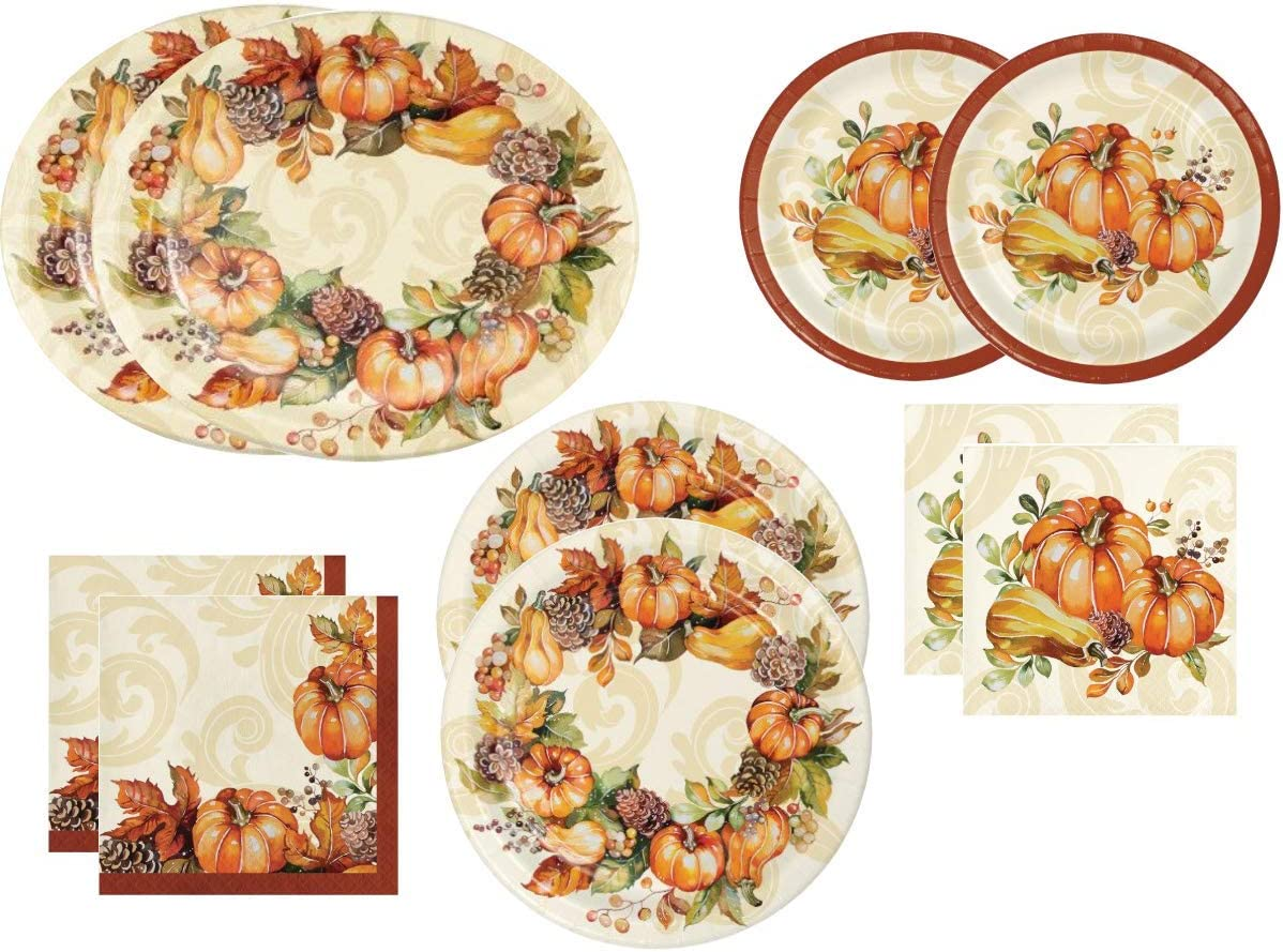 Fall Pumpkin Harvest Themed Thanksgiving Party Supplies Pack ~ Autumn Wreath Dinnerware Design ~ Bundle Includes Disposable Paper Platters, Plates and Napkins for 16 Guests
