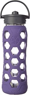product image for Lifefactory 22-Ounce BPA-Free Glass Water Bottle with Straw Cap and Silicone Hex Sleeve, Royal Purple