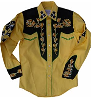 327861daaca Rockmount Mens Vintage Style Western Two Tone Embroidered Snap Shirt