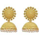 Royal Bling Gold Plated Pearl Polki Jhumki Earrings For Girls & Women