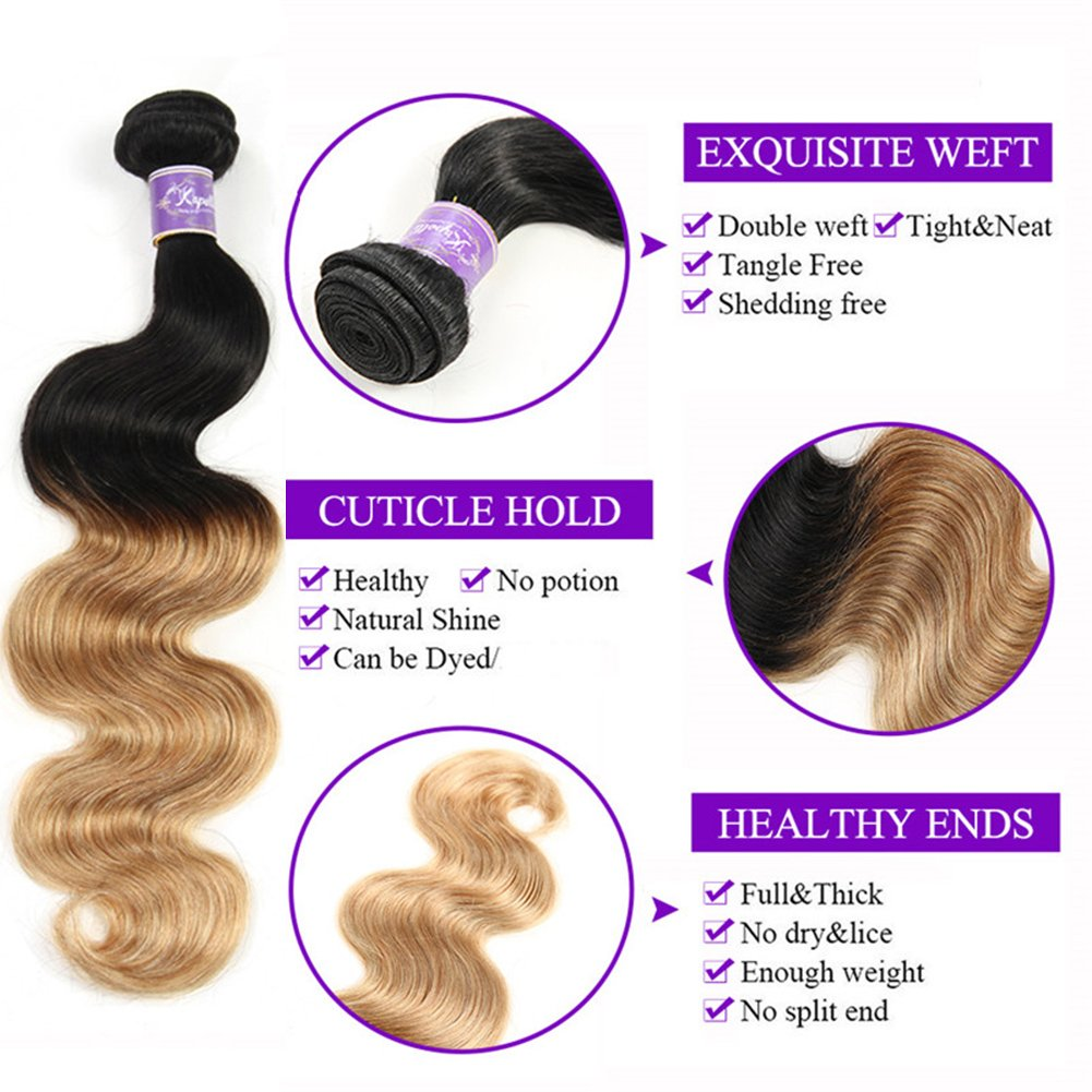 Ombre Brazilian Hair 3 Bundles With Closure, Ombre Human Hair Body Wave 3pcs With Lace Closure (20 22 24+18, #T1B/27) by Kapelli Hair (Image #5)