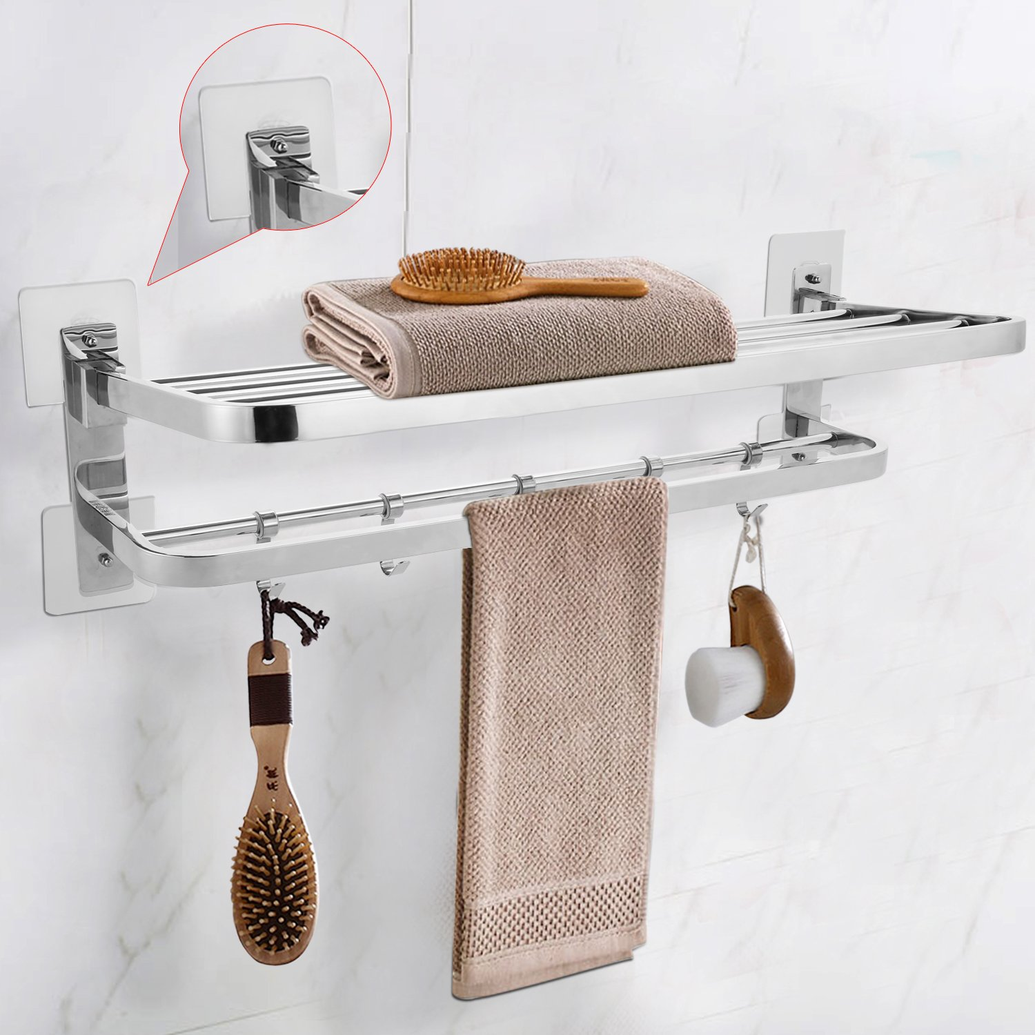 BATHWA Self Adhesive Towel Rack Bathroom Shelf Foldable Double Towel Bar Holder with 5 Movable Hooks Wall Mounted Stainless Steel 23.2L x 9.4W x 5.1H inches