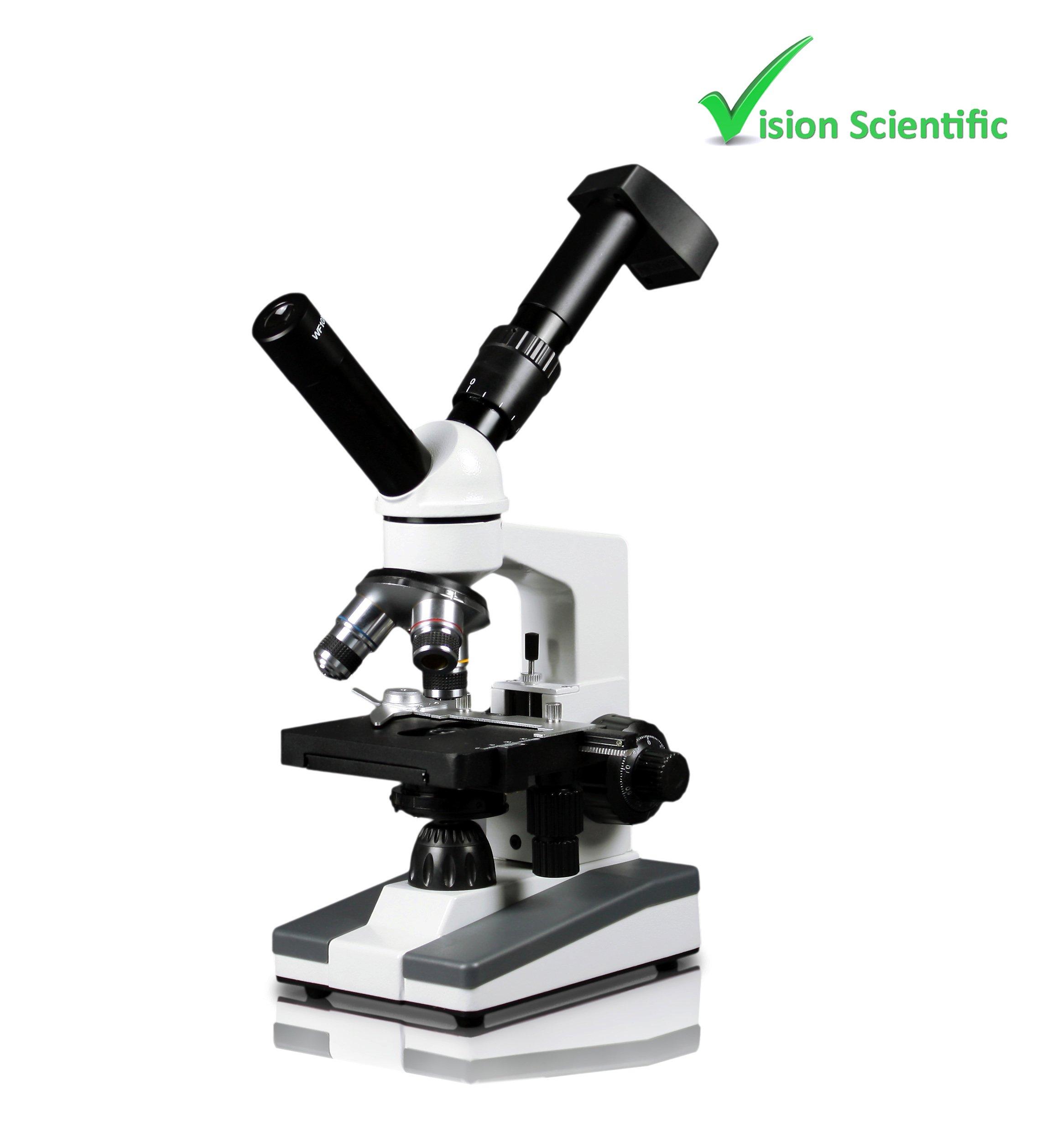 Vision Scientific VME0019-ST-LD-DG0.3 Dual View Elementary Level Compound Microscope, 10x WF & 25x WF Eyepiece, 40x-1000x Magnification, LED Illumination, 0.35MP Digital Eyepiece Camera