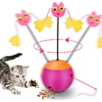 Mumoo Bear Interactive Laser Cat Toy, 3 in 1 Multifunction Automatic Spinning Cat Toy Ball Tumbler with Laser Pointer and Food Dispenser