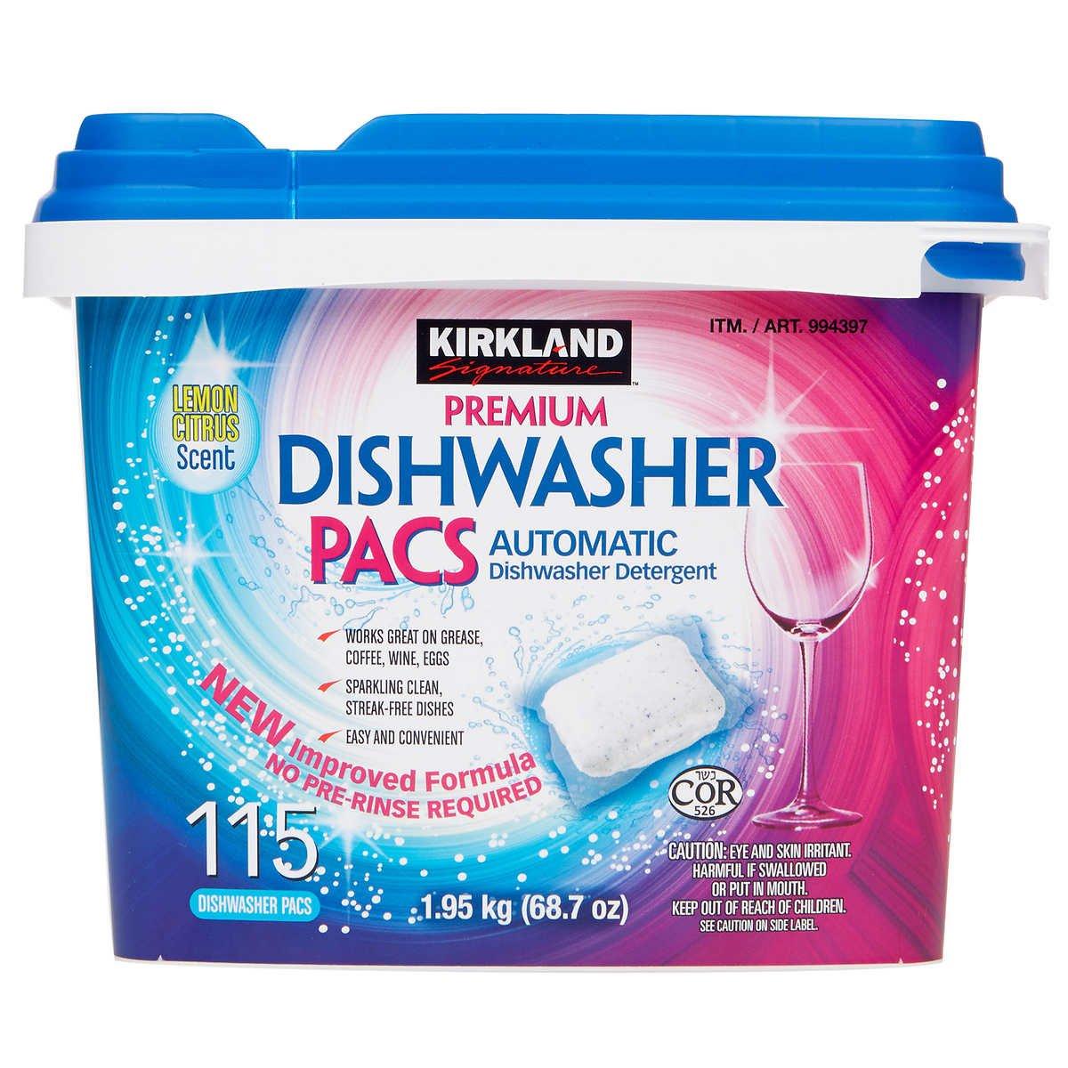 Kirkland Signature Easy to Use, Streak Free Premium Dishwasher Pacs, Automatic Dishwasher Detergent