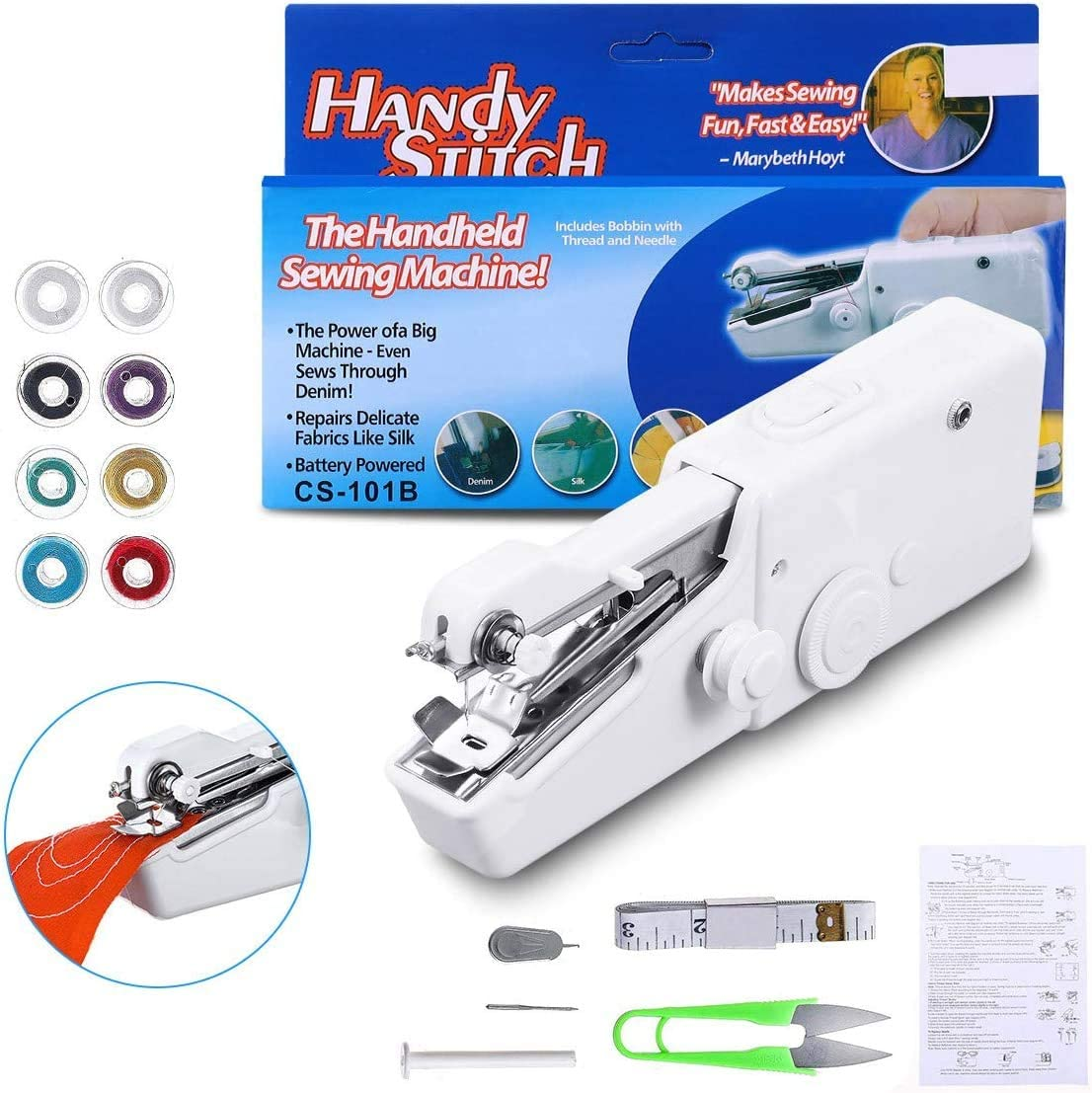 Mini Handheld Sewing Machine, LIUMY 15PCS Portable Sewing Machine,Mini Cordless Handheld Electric Stitch Tool for Quick Repairing, Fabric, Clothing, Kids Cloth, Home Travel Use