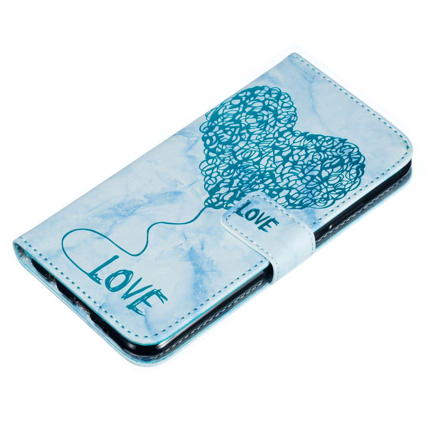 Gaufrage PU Bumper Case,Cuir PU Housse Protection Antichoc Coquille Coque pour Huawei Mate 20 Lite Bleu Carols Coque Huawei Mate 20 Lite