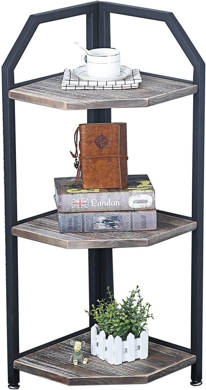Industrial Metal Bookshelf Modern Rustic Corner Book Shelves with Real Wood,Corner 3-Tier Bookcase Display Stand,Standing Home Decor Shelf Units
