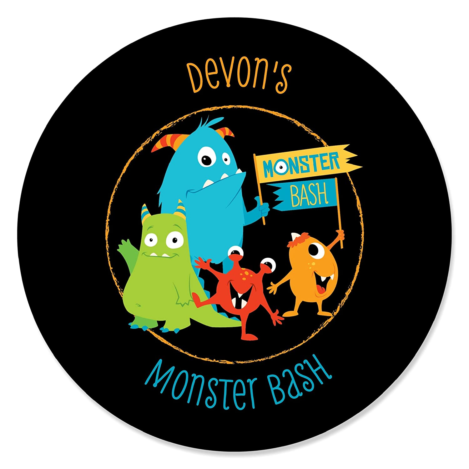 Amazon com personalized monster bash custom little monster birthday party or baby shower party favor circle sticker labels custom text 24 count