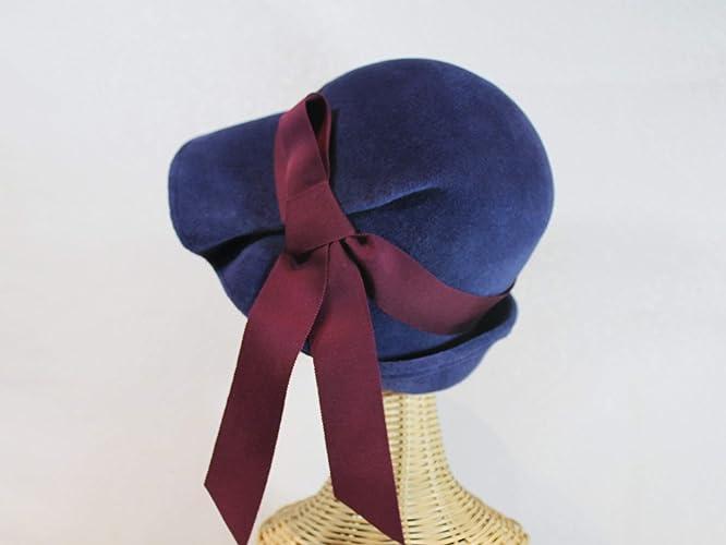Amazon.com  Lana Pleated Wide Brim Cloche Hat in Navy Blue Velour Felt   Handmade a8839a677bd