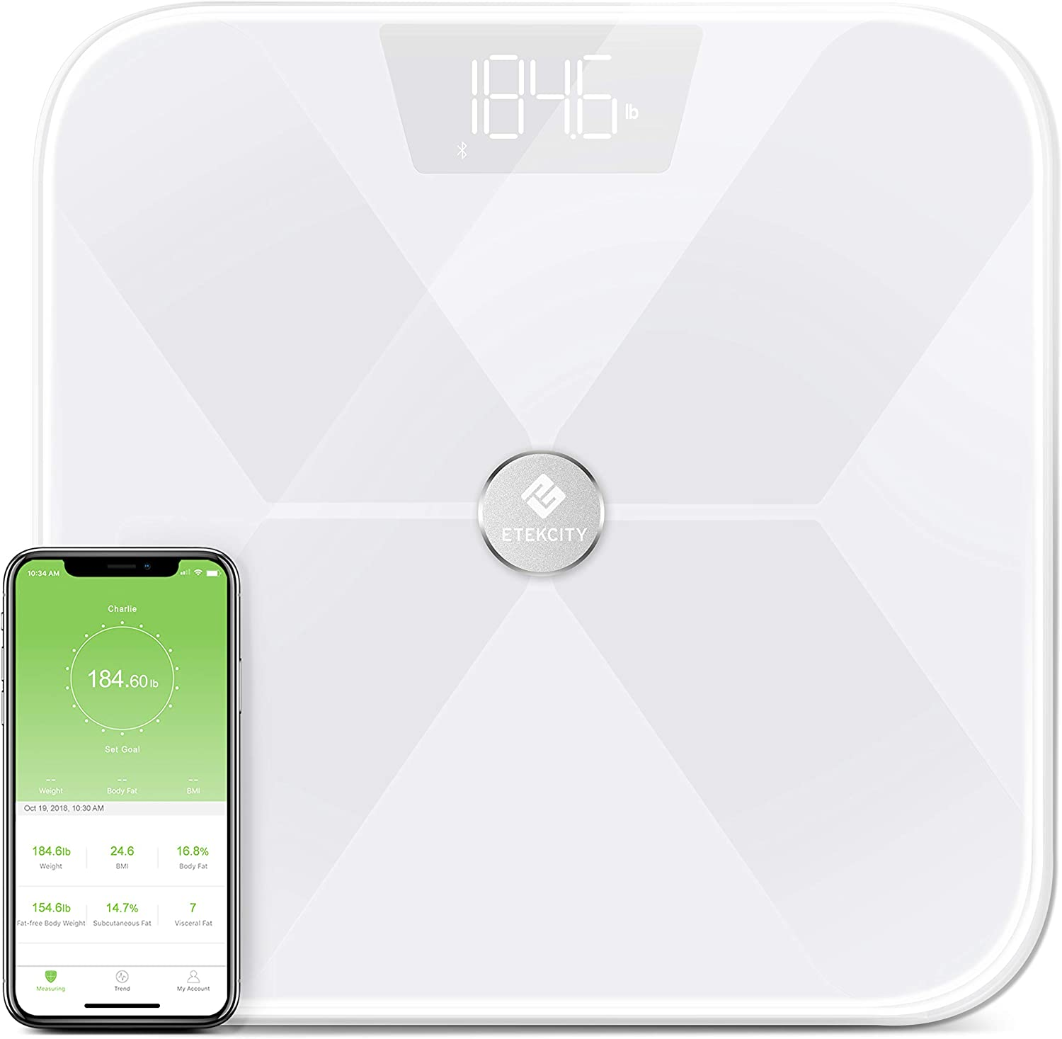 Etekcity Smart Bluetooth Body Fat Scale, Digital Weight Bathroom Scale with 13 Essential Measurements and ITO Conductive Glass, FDA Compliant, Upgraded Version