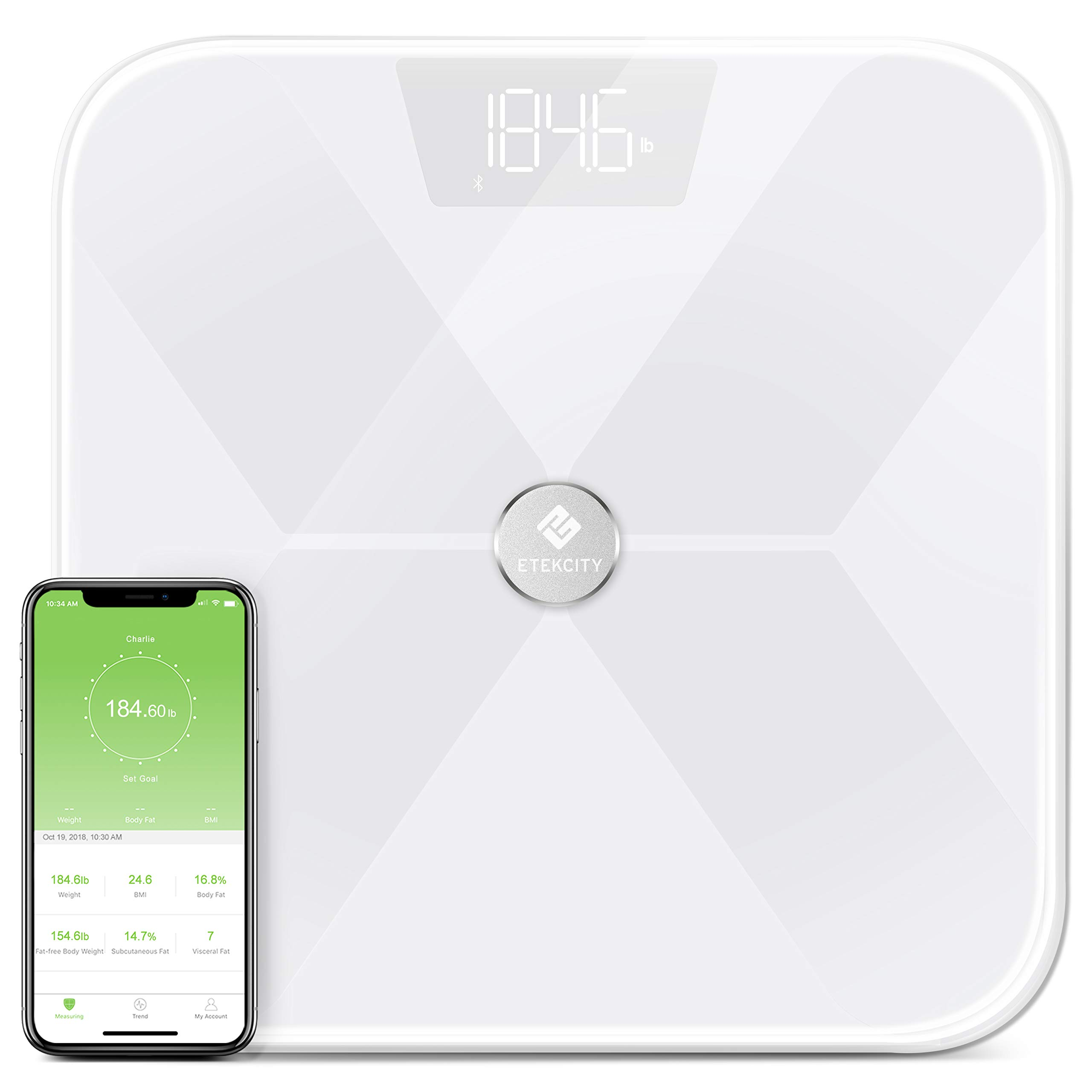 Etekcity Smart Bluetooth Body Fat Scale, Digital Weight Bathroom Scale with 13 Essential Measurements and ITO Conductive Glass, FDA Approved Body Composition Analyzer with App