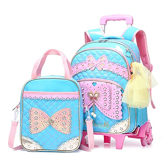 66b90bf8cc Meetbelify Rolling Backpack for Girls with Lunch Bag School Bags ...