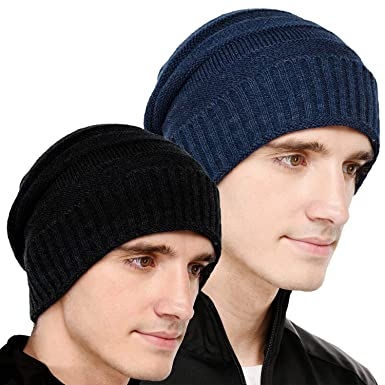 VR Designers Set of Two Black and Blue Stylish Woollen Beanie Caps for Men  and Women c1509175c1b8
