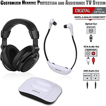 SIMOLIO - Auriculares inalámbricos digitales duales para TV, protección auditiva, auriculares inalámbricos para televisión, auriculares inalámbricos para todos los televisores, dispositivos de asistencia auditiva para personas mayores y personas con ...