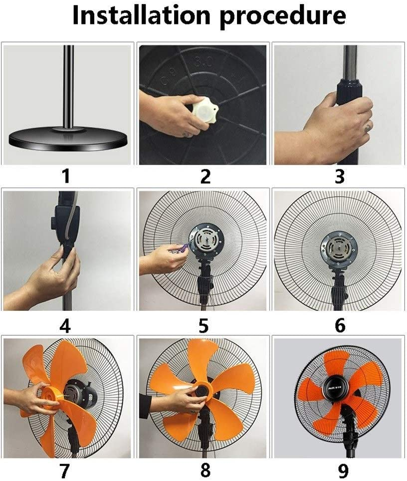 LHY Pedestal Fans 18 Inch Oscillating Standing 6 Speed Settings Adjustable Height and Tilt-Back Head,110w//130w