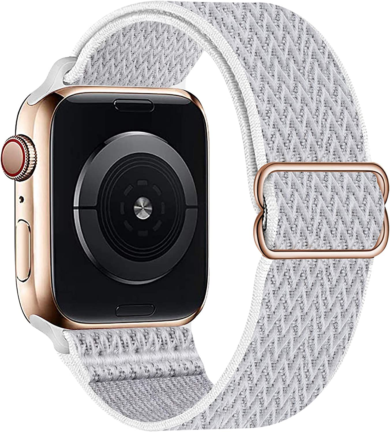 OHCBOOGIE Stretchy Solo Loop Strap Compatible with Apple Watch Bands 42mm 44mm,Adjustable Stretch Braided Elastics Weave Nylon Women Men Wristband Compatible with iWatch Series 6/5/4/3/2/1 SE,Seashell