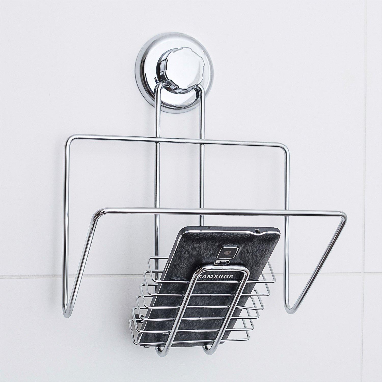 Tatkraft LAN iPad Magazine e smartphone Holder rack, cromo, argento, 20.5x 15x 23.8cm 20443