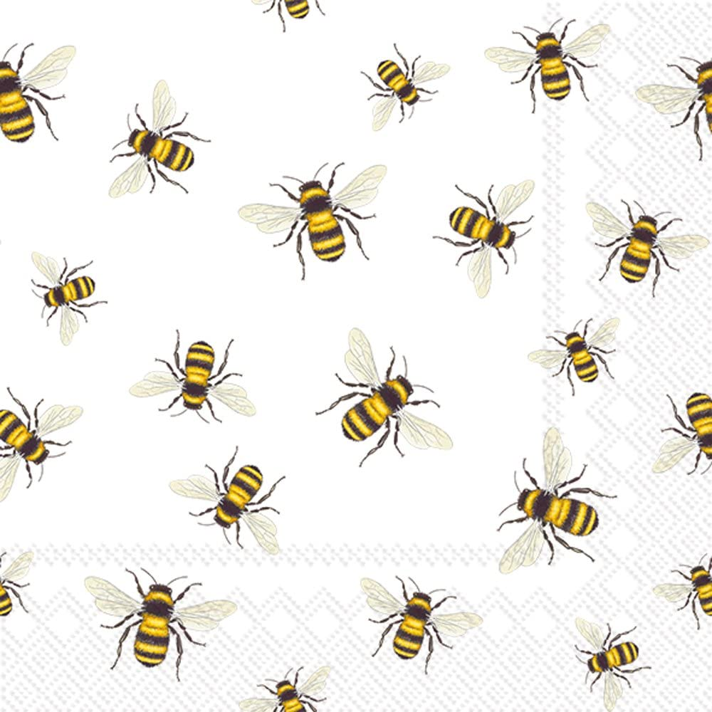 Celebrate the Home Spring 3-Ply Paper Cocktail Napkins, Save The Bees, 20-Count