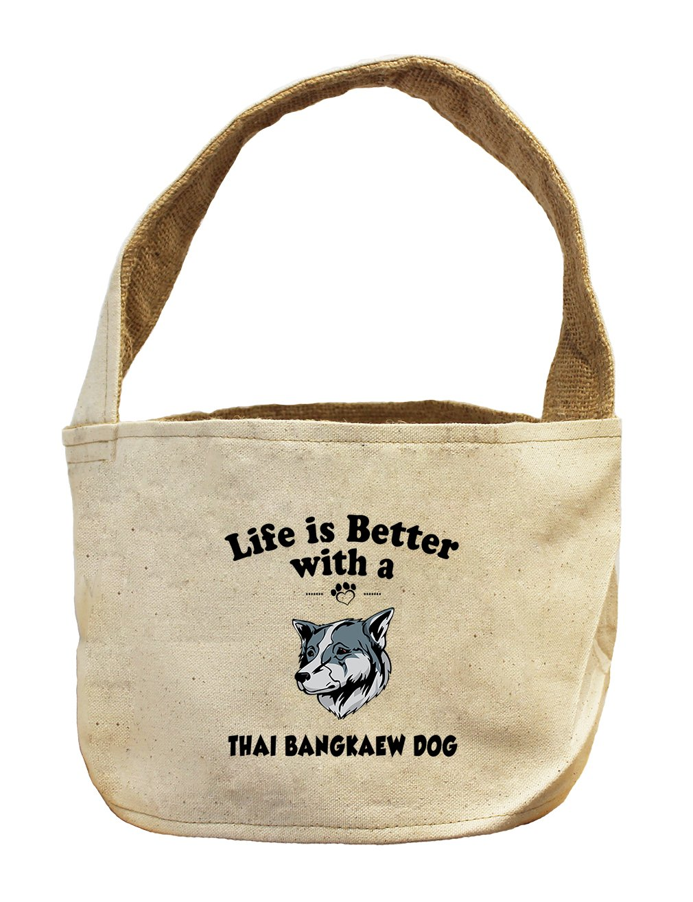 Style in Print Canvas/Burlap Storage Basket Life Is Better Thai Bangkaew Dogdog