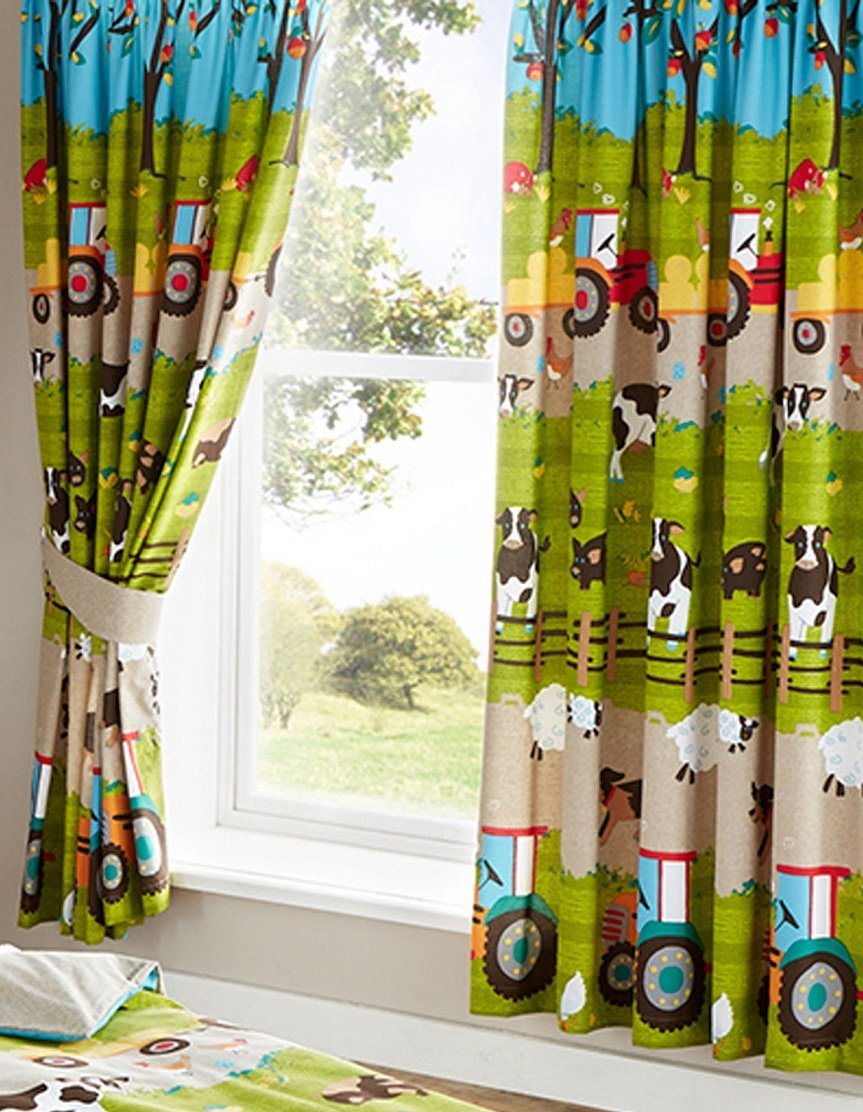 """Kids Club Farmyard Animal Fully Lined Pair of Curtains 66"""" X 72"""" 183cm Bedroom Cow Tractor, Fabric, Green, 183 h x 168 l centimeters"""