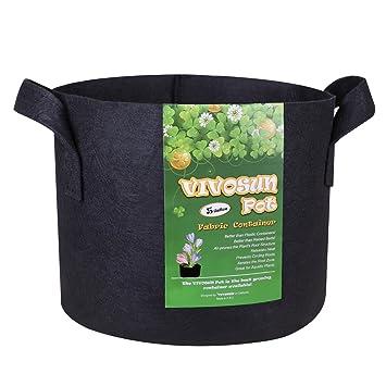 VIVOSUN Hydrokultur Stoff Topf mit stabilen Griffen wachsen Pflanzsack schwarz Stoff-Pflanzgef/ä/ß 5pcs je 19 Liter